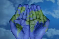 The world in your hands stock illustration
