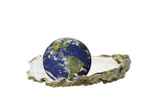 World is your oyster West. Earth sitting in an oyster shell, isolated over white Royalty Free Stock Images