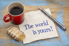 The world is yours on napkin Stock Images
