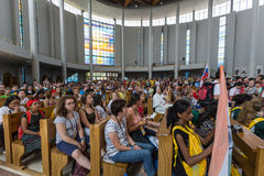 World Youth Day 2016 - Crowd of Pilgrims inside of  the Sanctuary of Divine Mercy in Lagiewniki. Royalty Free Stock Images