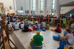 World Youth Day 2016 - Crowd of Pilgrims inside of  the Sanctuary of Divine Mercy in Lagiewniki Stock Image