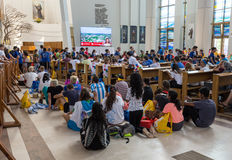 World Youth Day 2016 - Crowd of Pilgrims inside of  the Sanctuary of Divine Mercy in Lagiewniki. Stock Image