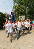 World Youth Day 2016 - Pilgrims from Cook Island in the Sanctuary of Divine Mercy in Lagiewniki Stock Image