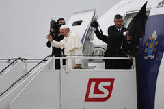 World Youth Day 2016 - pope Francis. KRAKOW, POLAND - JULY 31, 2016: Krakow Airport Balice World Youth Day 2016 , pope Francis departure o/p  pope Francis Stock Images