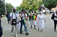 World Youth Day 2016 in Trzebnica. TRZEBNICA, POLAND - JULY 25: World Youth Day, pilgrims from Senegal visit St. Jadwiga Sanctuary on 25th July 2016 in Trzebnica royalty free stock photography