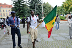 World Youth Day 2016 in Trzebnica. TRZEBNICA, POLAND - JULY 25: World Youth Day, pilgrims from Senegal visit St. Jadwiga Sanctuary on 25th July 2016 in Trzebnica Royalty Free Stock Image