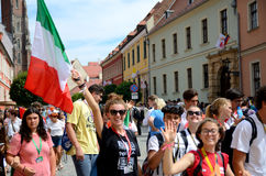The World Youth Days. WROCLAW, POLAND - JULY 23: Unidentified group of pilgrims join Days In Dioceses to prepare just before The World Youth Day in Cracow royalty free stock photo