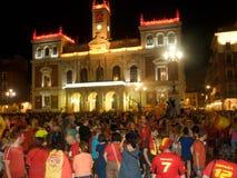 庆祝人西班牙胜利worldcup 免版税库存照片