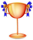 A worldcup trophy with a blue ribbon Royalty Free Stock Photography