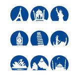 Worldlandmarks1blue Image stock