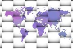 Worldmap με τα τετράγωνα και τις σκιές Στοκ Φωτογραφίες