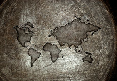 Worldmap на стали Стоковое Изображение