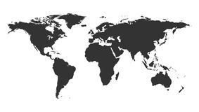 Worldmap backgound template. Isolated map of the world silhouette.  stock illustration
