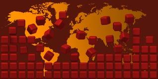 Worldmap bak den RÖDA väggen Royaltyfria Foton