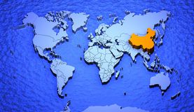 Worldmap_china Stock Image