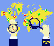 Worldmap, compass, captain. Captain paves the travel route on the map Royalty Free Stock Images