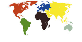 Worldmap continents in colors Stock Photography
