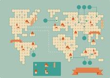 Worldmap d'annata illustrazione di stock