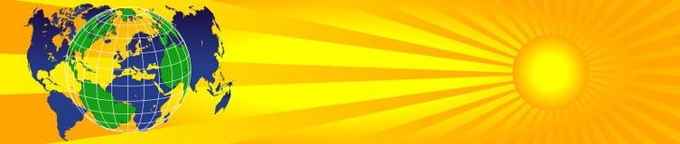 Worldmap e sol banner2 Imagem de Stock Royalty Free