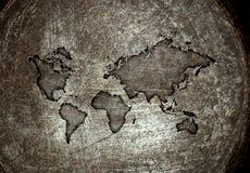 Worldmap em um aço Imagem de Stock