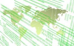 Worldmap en el ambiente de la tecnología sobre el fondo blanco stock de ilustración