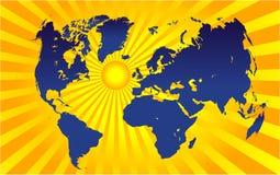 Worldmap et soleil Images stock