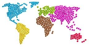 Worldmap gjorde av godisen Arkivbild