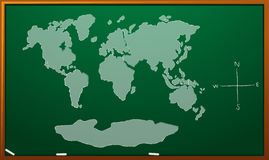 Worldmap on green board Royalty Free Stock Photo