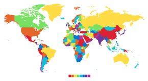 Worldmap in rainbow colors Stock Photo