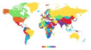 Worldmap in regenboogkleuren stock illustratie
