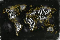 Worldmap rocznika kredy kolor żółty ilustracji