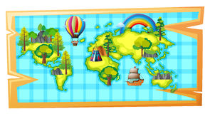 Worldmap with ship and balloon Royalty Free Stock Images