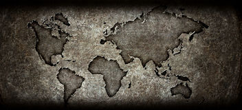 Worldmap on a steel background Stock Image