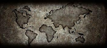 Worldmap on a steel background Stock Image