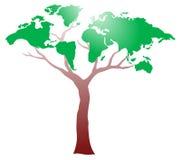 Worldmap sull'albero Immagine Stock