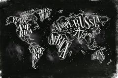 Worldmap tappningkrita Royaltyfria Bilder