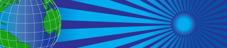 Worldmap und Sonne banner1 lizenzfreie abbildung