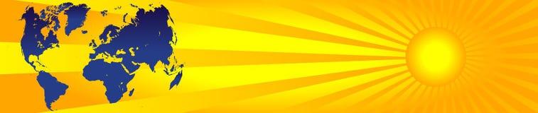 Worldmap und Sonne banner3 lizenzfreie abbildung