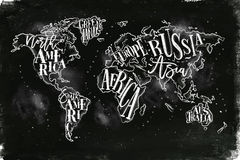 Worldmap vintage chalk Royalty Free Stock Images