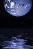 Worlds. Reflection of globe on water royalty free illustration