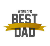 Worlds best dad ribbon sign illustration design. Over a white background royalty free stock photos