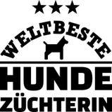 Worlds best female dog breeder german. With dog silhouette royalty free illustration