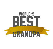 Worlds best grandpa ribbon sign illustration Royalty Free Stock Photos
