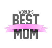 Worlds best mom ribbon sign illustration design Royalty Free Stock Photography