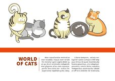 Worlds of cats promotional banner for pet shop Stock Image