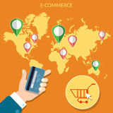 Worlds e-commerce map pointer man holding credit cards Stock Photography