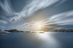 At the worlds end. Long exposure image from the beautiful coast of vestfold Norway Royalty Free Stock Images