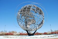 The Worlds Fair Globe in NYC. The Worlds Fair Unisphere Globe in Flushing Meadow Park New York on a clear Spring day royalty free stock image