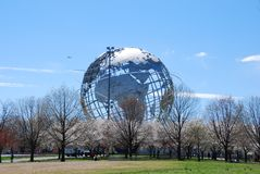 The Worlds Fair Globe. The Worlds Fair Unisphere Globe in Flushing Meadow Park New York on a clear Spring day royalty free stock images