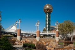 Worlds Fair park. In Knoxville Tennessee showing the Sunsphere, bridge and water feature at the center of the park stock images